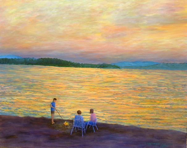 A painting of three people enjoying a campfire beside a sunset-lit sky and water on Koocanusa Lake between Fernie and Cranbrook, B..