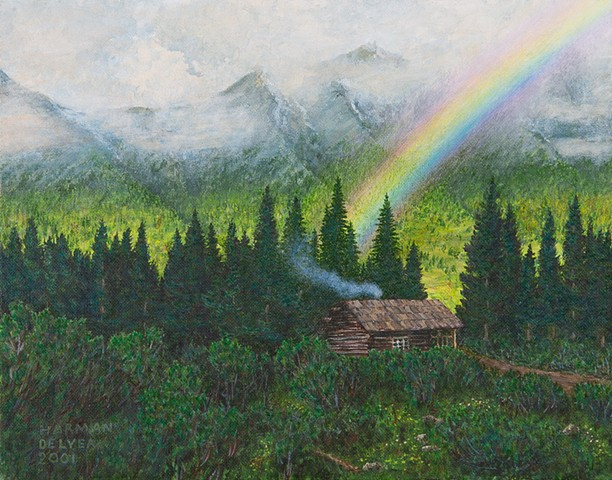 A painting of a rustic cabin near Elk Lakes Provincial Park, the headwaters of the Elk River in eastern B.C., in the Rockies.