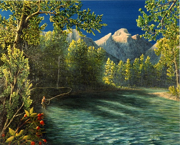 Painting, Fernie, BC, Elk Valley, Elk River, Fly Fishing, Rocky Mountains