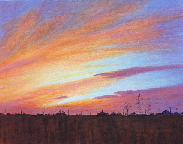 A painting of an orange and purple Texas sunset from a suburb of Houston.