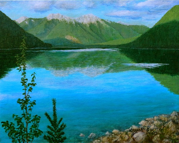 Painting, White Swan Lake, Rocky Mountains, White Swan Provincial Park
