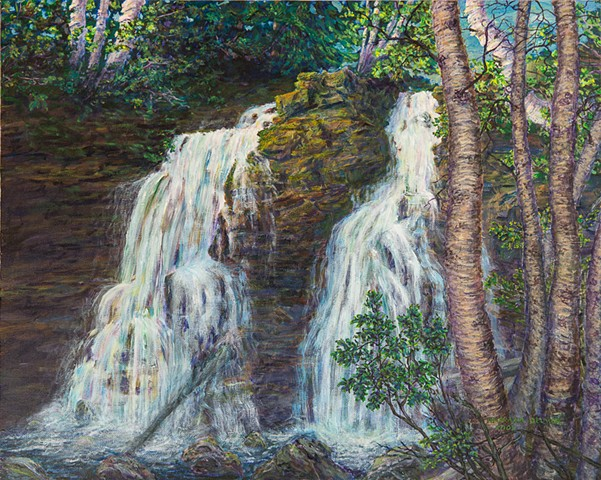 A painting of the Fairy Creek Water Falls at the foot of The Three Sisters Mountain (Trinity Mountain), a short walk on the edge of Fernie, B.C.
