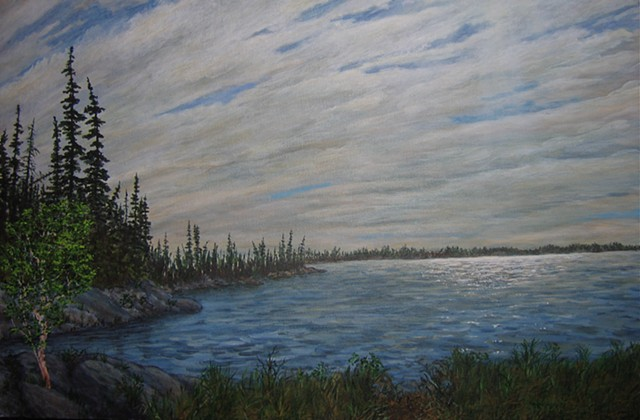 A painting of Frame Lake close to the Northwest Territory Legislature building in Yellowknife, N.T.
