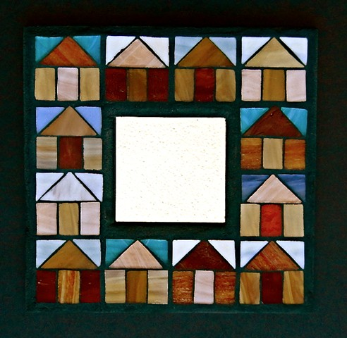 quilt stained glass mosaic mirror