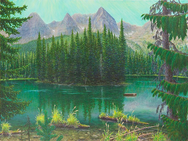 A painting of the turquoise water of Island Lake and the small island, with the peaks The Three Bears of the Lizard Range of the Rocky Mountains near Fernie, B.C.