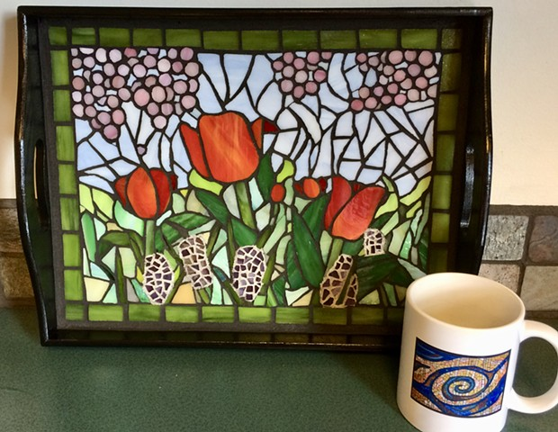 tulips, stained-glass mosaic
