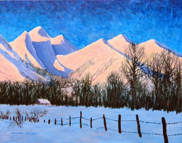 A painting of the morning sunshine in winter on The Three Sisters (Trinity Mountain) and Mount Proctor, the dominating mountains of Fernie, B.C. in the Canadian Rockies.
