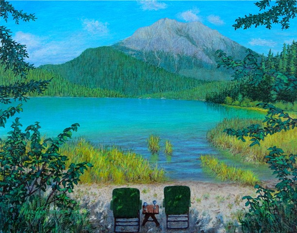 Painting, Moose Lake, Alces Lake, White Swan Provincial Park, Rocky Mountains.
