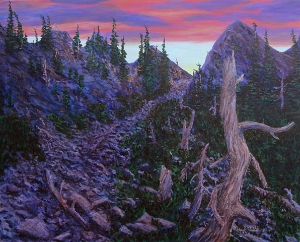 A painting of long purple shadows high on Spineback Trail on the Lizard Range near Island Lake and Fernie, B.C.