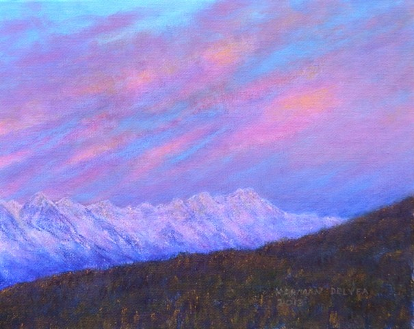 Painting of snowy Rocky Mountains with a sunrise at Fernie, B.C.