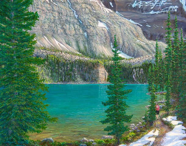 A painting of a hiker beside the turquoise Lake O'Hara trail in early summer, in Yoho National Park, B..