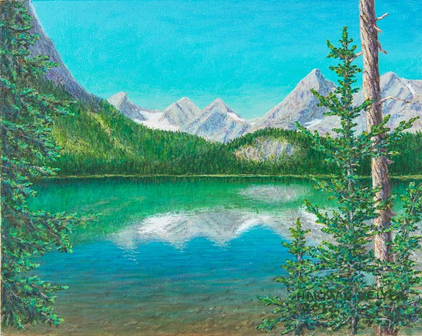 Painting, Lower Elk Lake, Elk River, Elkford, BC, Sparwood, BC, Elk Valley, Elk Lakes Provincial Park, Rocky Mountains