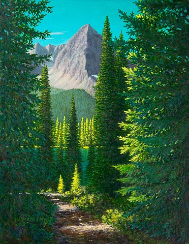 forest trail at Island Lake near Fernie, B.C. painting