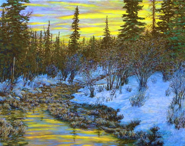 A painting of a yellow sunrise and a small stream on a winter morning near Fernie, B.C. in the Rocky Mountains.