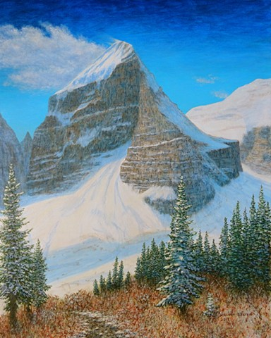 Mount LeFroy, Banff National Park, Lake Louise, Plain of Six Glaciers Tea House, Art Painting in Banff National Park