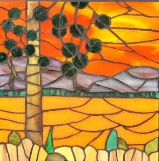sunsets Koocanusa stained-glass