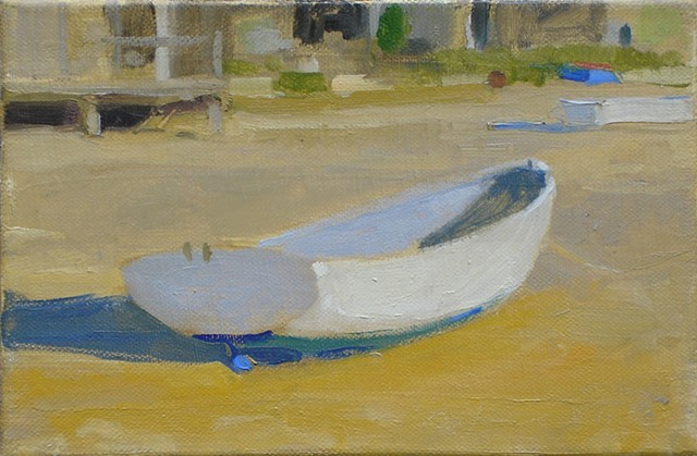 Oil painting of a boat, Cape Cod, Provincetown beach