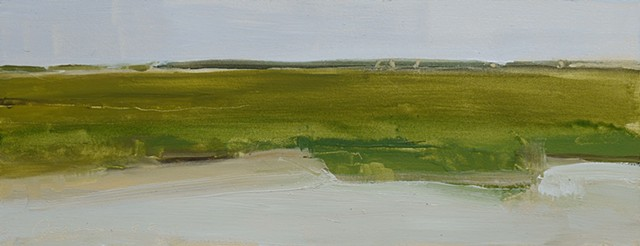 Oil painting landscape of Cape Cod salt march