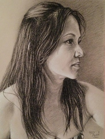 charcoal portrait, charcoal on toned paper