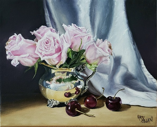 still life, cherries, roses, oil painting