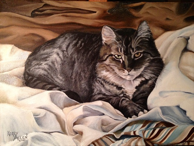 tabby cat, pet portrait, cat portrait, Rocky, cat painting