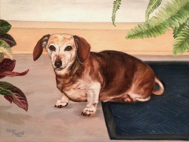 dachshund, pet portrait, red dog, Coco, dog painting
