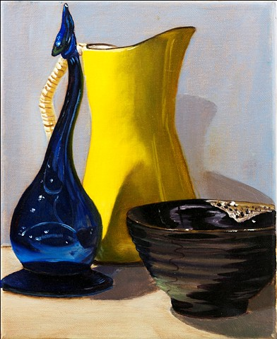 Oil painting of vase, bowl, and pitcher
