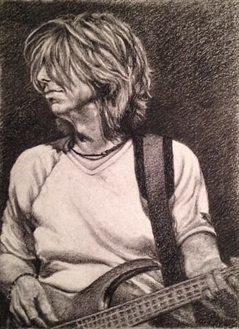 charcoal, portrait, bass guitar