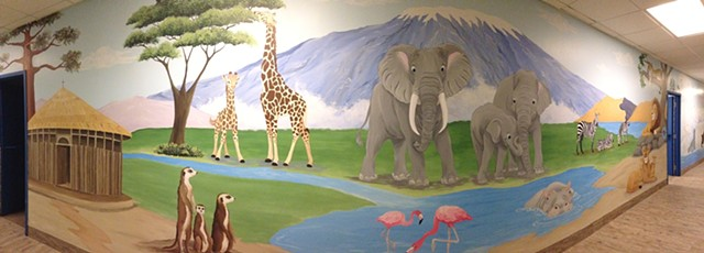 children's mural, seven continents mural, animals of the seven continents