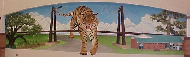 tiger, Mississippi River, mural, Louisiana