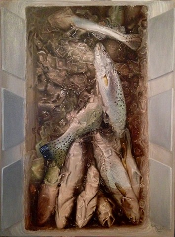 speckled trout, fish in cooler, fishing, trout, going fishing, ice chest