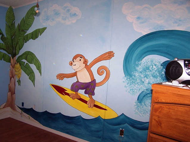 surf, monkey, child's mural
