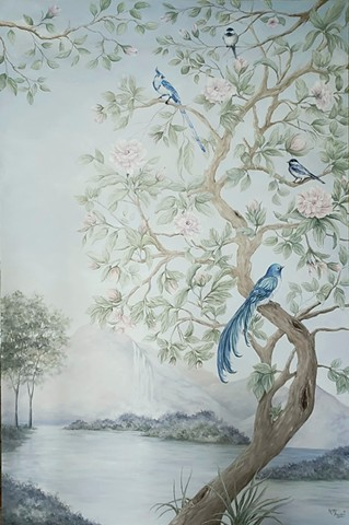 bird painting, chinoiserie, oil painting, oil painting commission