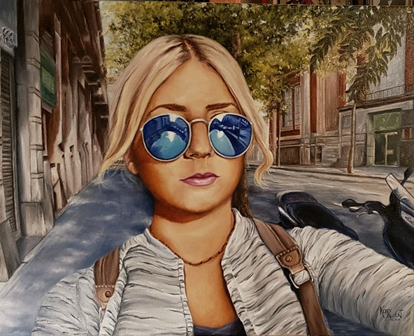 Barcelona, selfie, oil painting, portrait