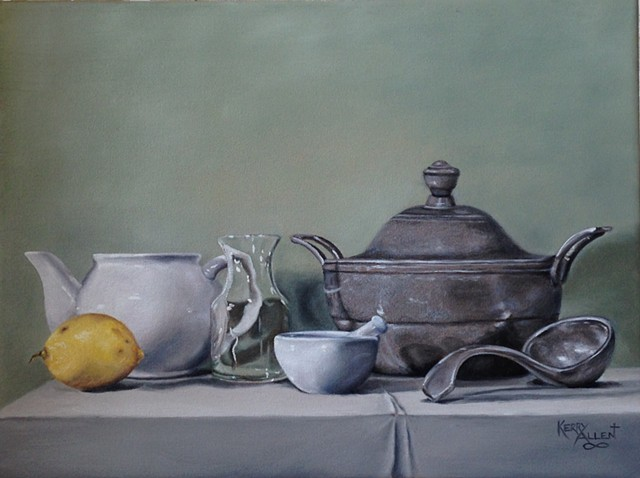 still life, pewter bowl, study in green and silver, lemon and teapot