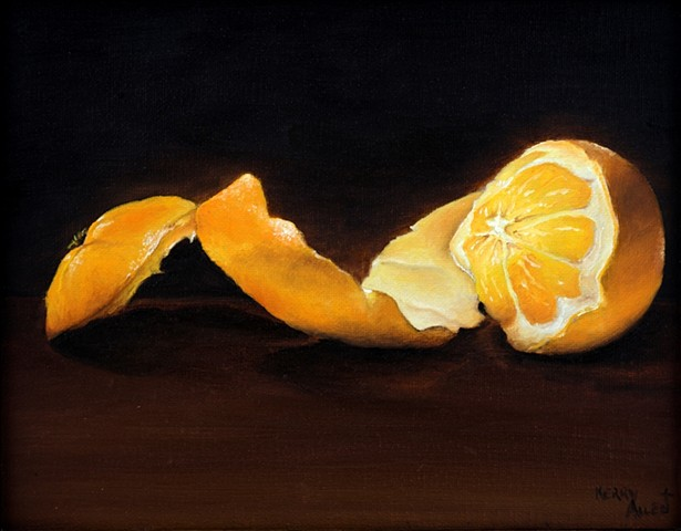 Peeled orange, still life, fruit