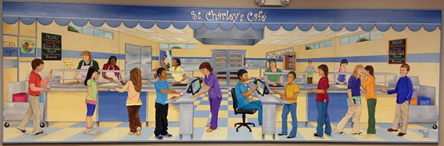 mural, cafeteria, serving line, school mural, child nutrition