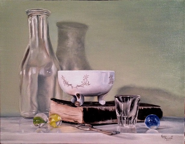 still life, sentimental objects, oil painting, commissioned paintings