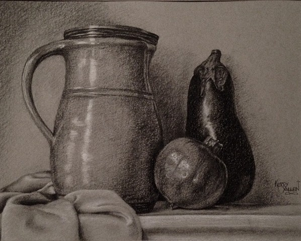 charcoal still life, charcoal drawing, charcoal on toned paper