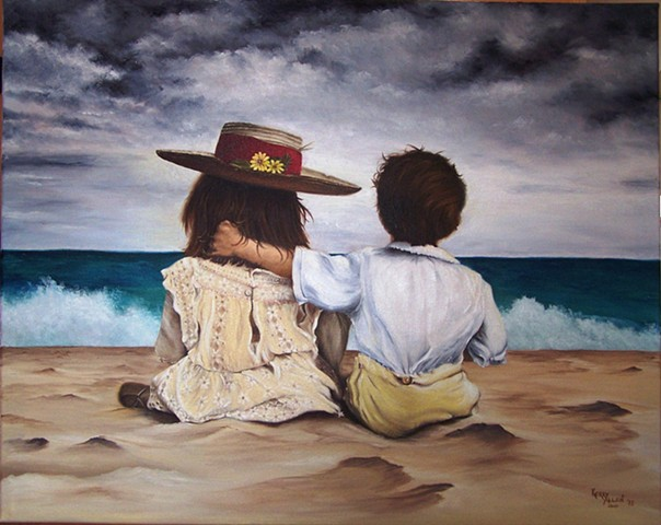 beach, boy and girl on beach, ocean, young love