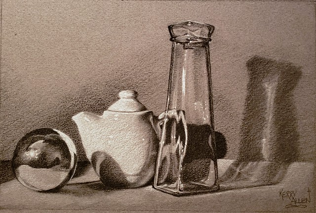 charcoal, still life, reflections, toned paper, drawing