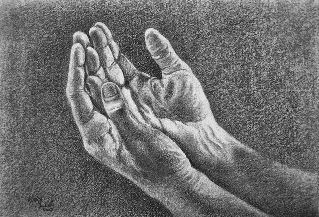 praise, worship, vessel, Christianity, servant, charcoal, drawing