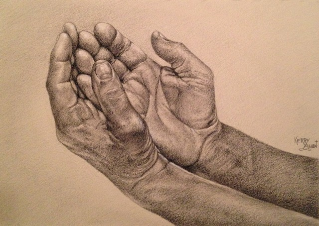 charcoal drawing, hands study, worship, open hands