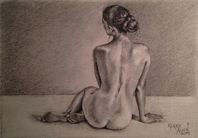 charcoal portrait, nude