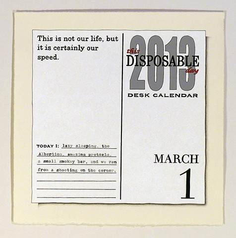 This Disposable Day Desk Calendar (March)