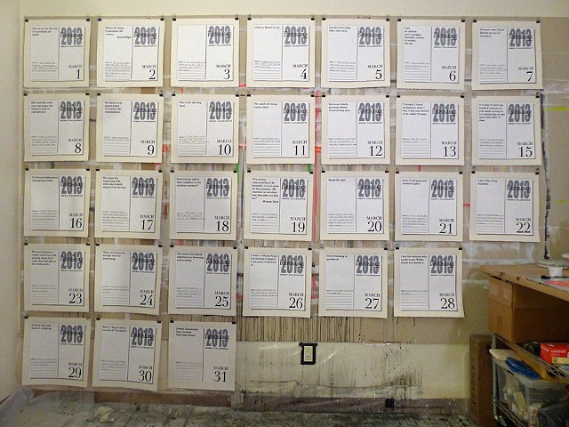 This Disposable Day Desk Calendar (March) Studio installation image in Brooklyn, NY