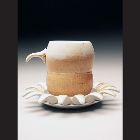 Cup and Saucer, salt fired porcelain, wheel thrown, pottery, ceramics, Paul Ide, functional, cone 10