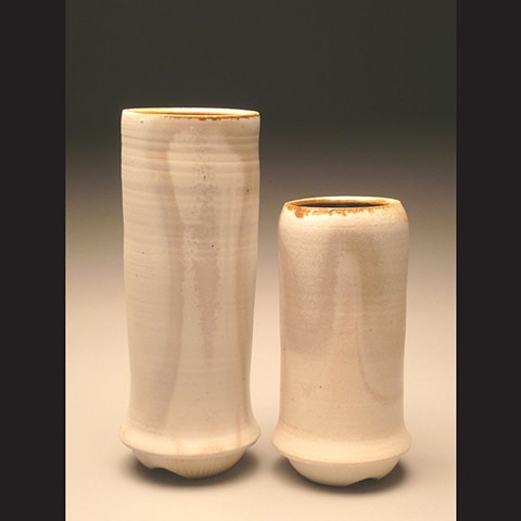 Two Vases, wood fired porcelain, wheel thrown, pottery, ceramics, Paul Ide, functional, cone 10