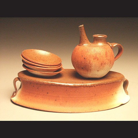 Soy Set, crackle slip, salt fired stoneware, wheel thrown, pottery, ceramics, Paul Ide, functional, cone 10