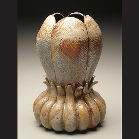 Vase, wood fired stoneware, wheel thrown, pottery, ceramics, Paul Ide, functional, cone 10